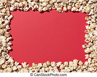 popcorn border copy space - Stock Image - Shot of popcorn...