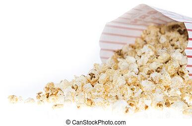 popcorn, borsa, bianco, isolato