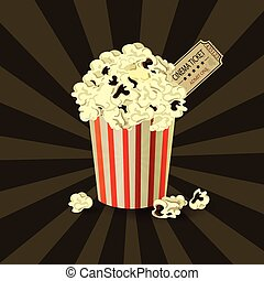 Popcorn bowl and ticket on retro background