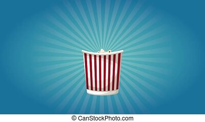 Popcorn box appears over blue background HD animation
