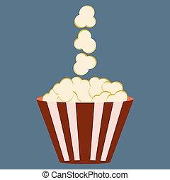 Popcorn box. Cinema icon in flat design style.