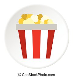 Popcorn box icon, flat style