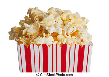 Popcorn - Box of popcorn isolated  on a white background