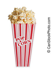 Popcorn - Box of popcorn isolated on a white background with...