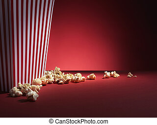 popcorn box with red copy space - Stock Image