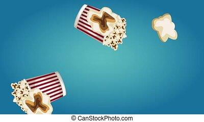Popcorn boxes raining over blue background