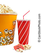 Popcorn bucket with two tickets and soda on white background