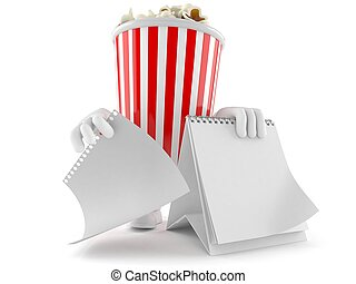 popcorn, calendario, carattere, vuoto