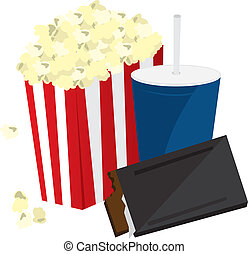 Popcorn Candy and Drink - Movie popcorn, candy bar and soft...