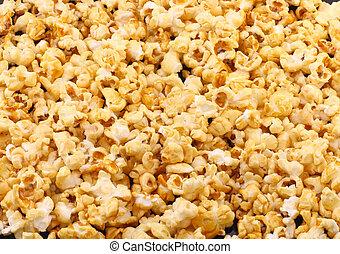 popcorn., caramelo, textura, close-up.