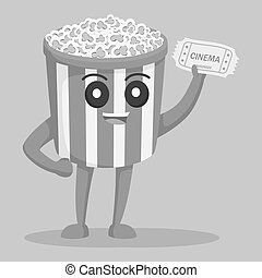 Popcorn character with cinema ticket