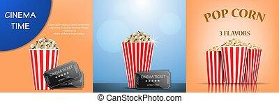 Popcorn cinema box banner set, realistic style