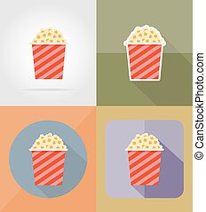 popcorn cinema flat icons vector illustration