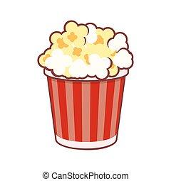 Popcorn. Cinema Icon on White Background. Vector