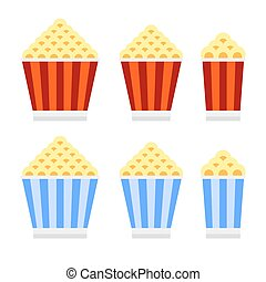 Popcorn Cinema Icon Set. Flat Design Style. Vector