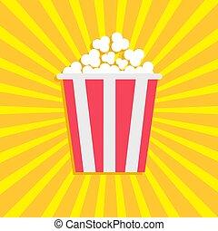 Popcorn. Cinema movie icon in flat design style. Starburst background