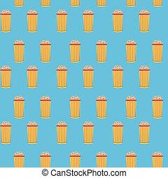 Popcorn cinema seamless pattern