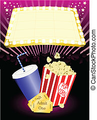 popcorn, cinema, soda