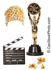 Popcorn, Clapper, and Oscar Statue Isolated - Movie...