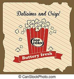 popcorn design over lineal background vector illustration