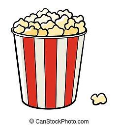Popcorn - Cartoon illustration of a bucket of popcorn