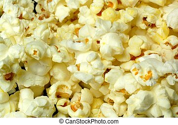 A close-up of popped popcorn