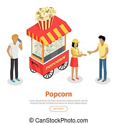 Popcorn Conceptual Isometric Vector Web Banner