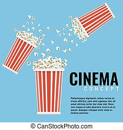 popcorn, copyspace., illustration., vektor, design, dein