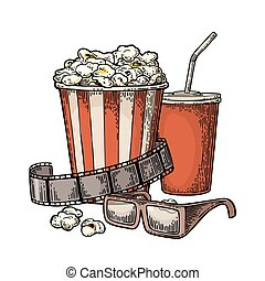 Popcorn, cup for beverages with straw, film strip and 3D glasses for cinema.
