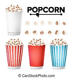 Popcorn Cup Set Vector. Realistic Classic Cup Full Of Popcorn. For Cinema, Movie, Film, Food, Theater Design. Isolated Illustration