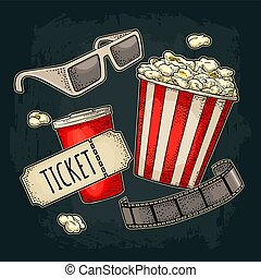 Popcorn, cup with straw, ticket, film strip, 3D glasses cinema.