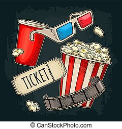 Popcorn, cup with straw, tiket, film strip, 3D glasses cinema.