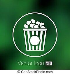 Popcorn design on blue background,clean vector logo