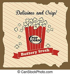 popcorn design over lineal background vector illustration