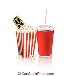 popcorn, dricka, och, lottsedlar