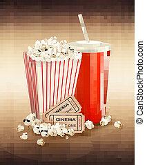 popcorn, dricka, och, två, lottsedlar