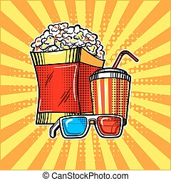 Popcorn drink and colorful cinema glasses vector