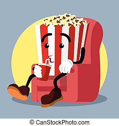 popcorn drinking soda while