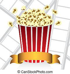 popcorn on movie tape background, vector illustration