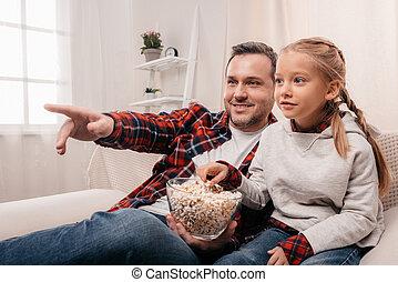 popcorn, eten, dochter, vader