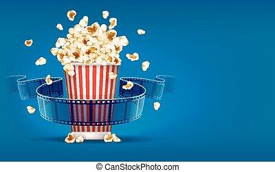 popcorn, för, bio, och, film filma, tejpa, på, blåttbakgrund