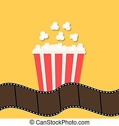Popcorn. Film strip border. Red yellow box. Cinema movie night icon in flat design style. Stock vector illustration