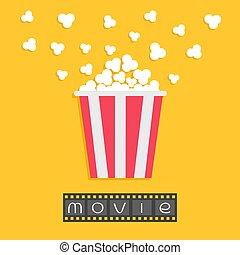 Popcorn. Film strip. Red yellow box. Cinema movie night icon in flat design style. Yellow background.