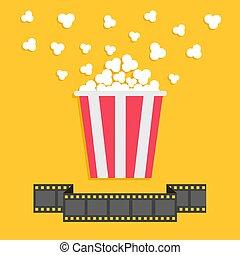Popcorn. Film strip ribbon line. Red yellow box. Cinema movie night icon in flat design style.