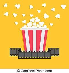 Popcorn. Film strip ribbon. Red yellow box. Cinema movie night icon in flat design style.
