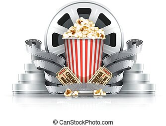 Popcorn film-strips and disks with cinema tickets to movie theater