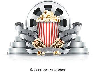 popcorn, film-strips, och, disks, med, bio, lottsedlar, till, film teater