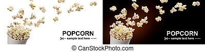 Popcorn flying out of cardboard box