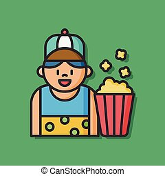 popcorn food saler icon