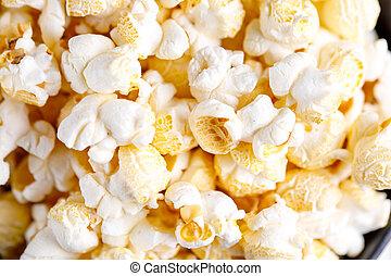 popcorn, fresco, appetitoso, close-up.
